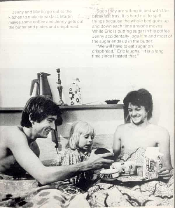 A page from Jenny Lives with Eric and Martin by Suzanne Bösche, branded 'blatant homosexual propoganda' by Margaret Thatcher's education secretary Kenneth Baker.