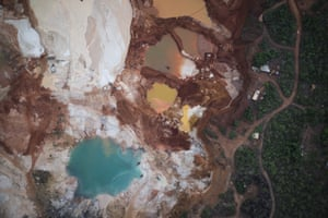 An aerial photograph of the area that was destroyed by diamond mining and is now an abandoned mine