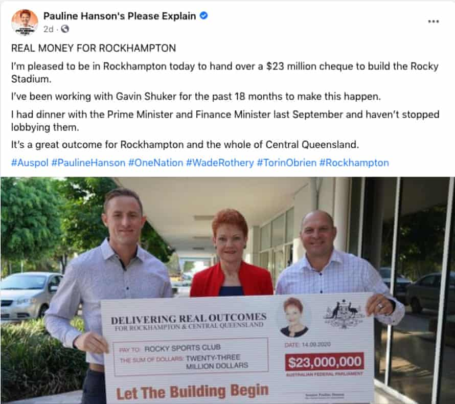 Pauline Hanson presents $23m novelty cheque to Rocky Sports Club on Monday 14 September