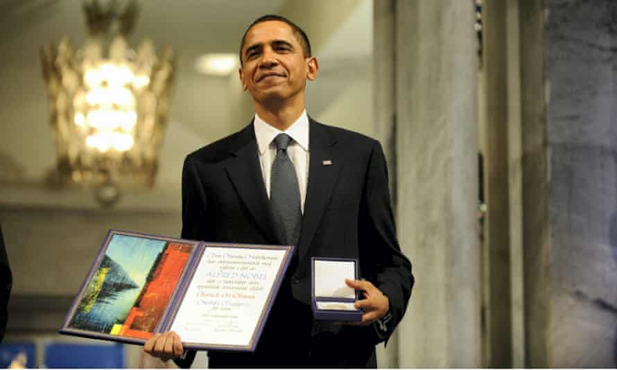 Barack Obama at the Nobel peace prize ceremony at Oslo Town Hall, Oslo.
