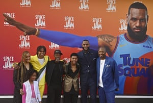 LeBron James and cast of Space Jam: A New Legacy at the movie's LA premiere