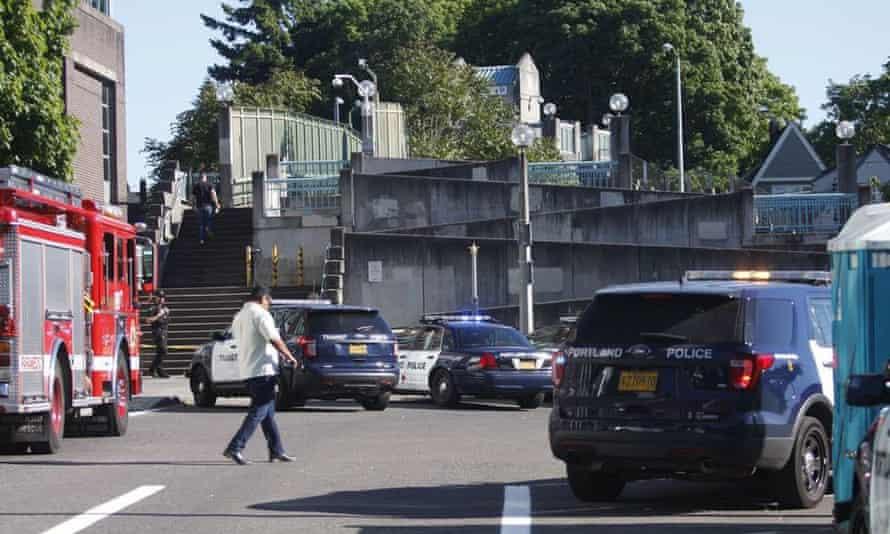 Police investigate the stabbing in Portland.