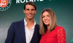 The two champions, Rafael Nadal and Simona Halep, at the French Open draw.