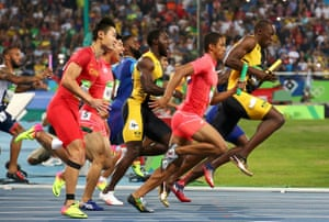 Usain Bolt surges away after the changeover.