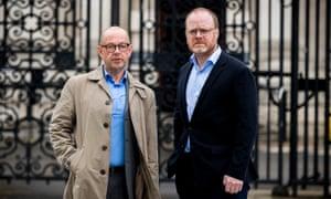 Investigative journalists Barry McCaffrey (left) and Trevor Birney outside Belfast high court.