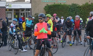 Riders wait for the start of the 407km London-Wales-London 2018.