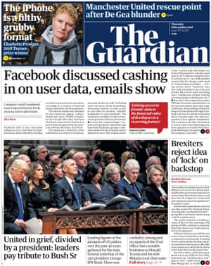 Guardian front page, Thursday 6 December 2018
