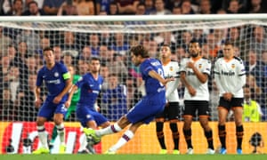 Marcos Alonso of Chelsea shoots from a free-kick.