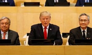 Donald Trump during a meeting at the UN
