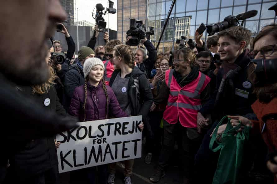 Greta Thunberg at a climate march in Brussels, Belgium, 21 February