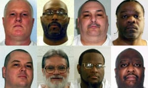 The eight men set for execution, clockwise from top left: Don William Davis, Stacey Eugene Johnson, Jack Harold Jones, Ledelle Lee, Jason F McGehee, Bruce Earl Ward, Kenneth D Williams and Marcel W Williams.