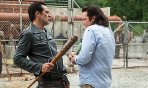 This was not an episode for heroes … Eugene the coward with Negan and his barbed-wire baseball bat Lucille.