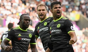 Diego Costa celebrates with Victor Moses and Branislav Ivanovic after scoring Chelsea's equaliser in the 2-2 draw at Swansea City