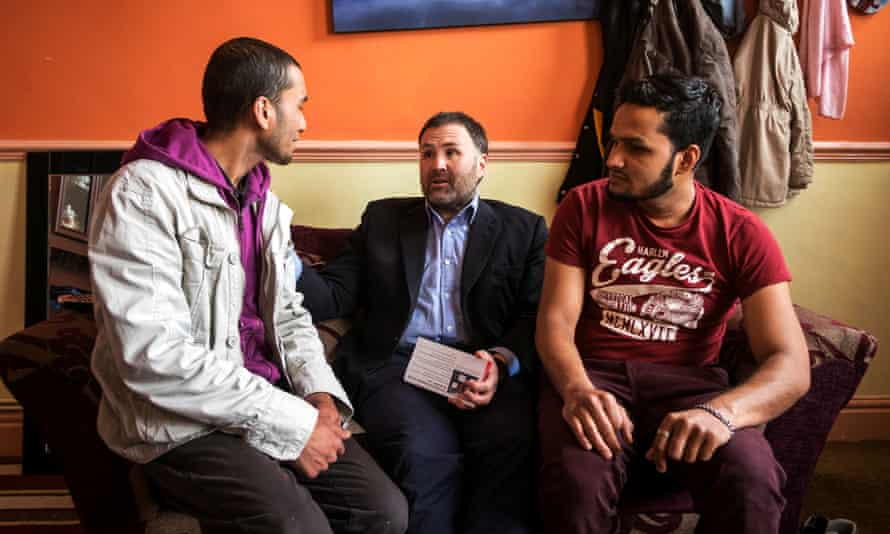 Sion Simon, the Labour candidate for West Midland mayor, campaigning in a constituent's home in Smethwick.
