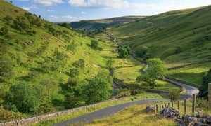 A single track road in Upper Wharfedale, Craven