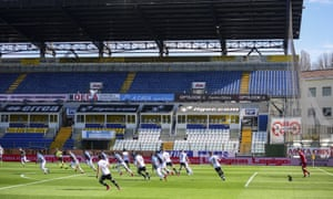 Parma and Spal play their Serie A football match in the empty Tardini stadium.