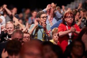 Delegates cheering Diane Abbott