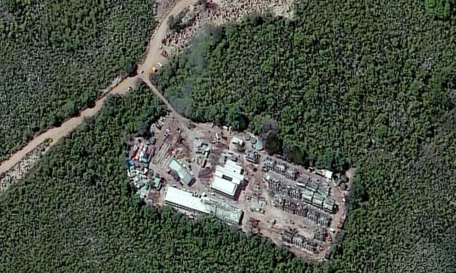 A closeup satellite image of the Topside detention camp in Nauru taken in July 2013.