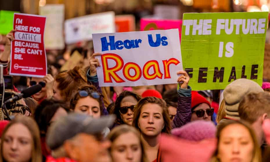 Women march in New York, 8 March 2017.