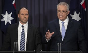 Prime minister Scott Morrison, right, and deputy leader of the Liberal party, Josh Frydenberg, on Friday.