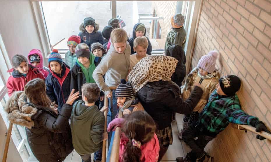 Refugee children at a school in Sweden