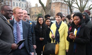Caroline Pidgeon (in yellow) has launched a policy to curb HGVs in central London