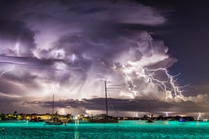 A stacked image of a thunderstorm at Riviera Beach, Florida