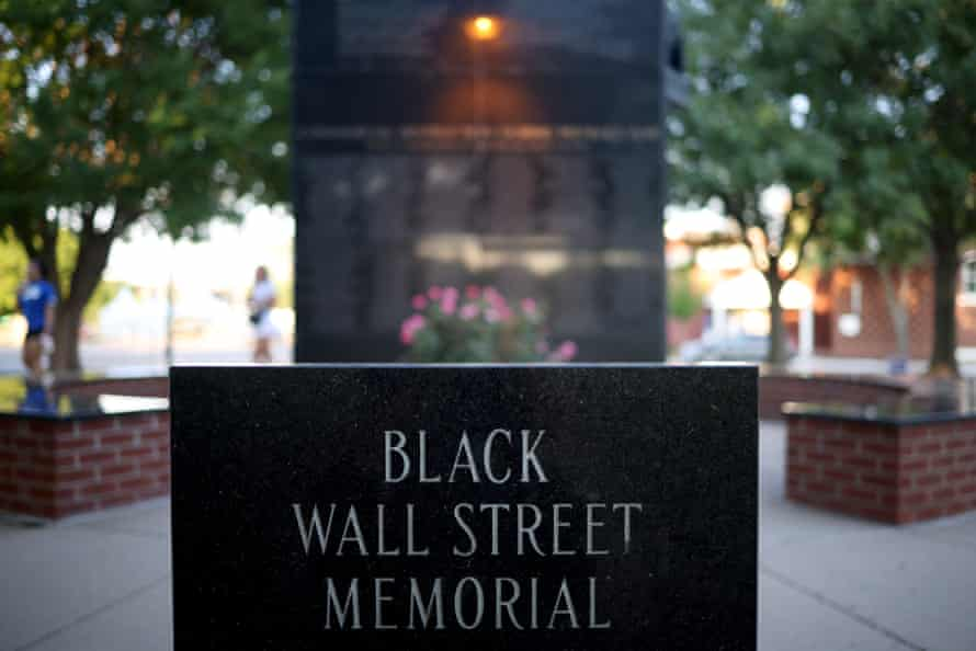 The Black Wall Street memorial in Tulsa. According to Human Rights Watch, 34% of black people live in poverty in Tulsa, compared to 13% of white people.