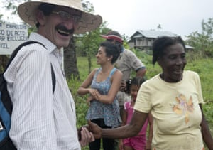 Father Alberto Franco with members of a Colombian community