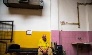 Homeless man Sarkadi András at a Budapest shelter.