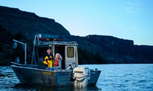 Idaho couple Gene and Sandy Ralston pose for a portrait on Lake Billy Chinook Resevoir in Jefferson County