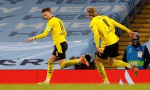 Borussia Dortmund's Marco Reus celebrates scoring.