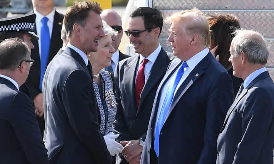 Jeremy Hunt greets Donald Trump during the president's state visit to Britain in June.
