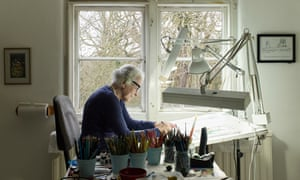 Kerr at her London home and studio, where she draws and writes.