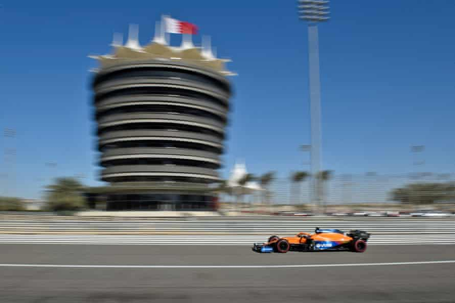 McLaren's Australian driver Daniel Ricciardo testing in Bahrain