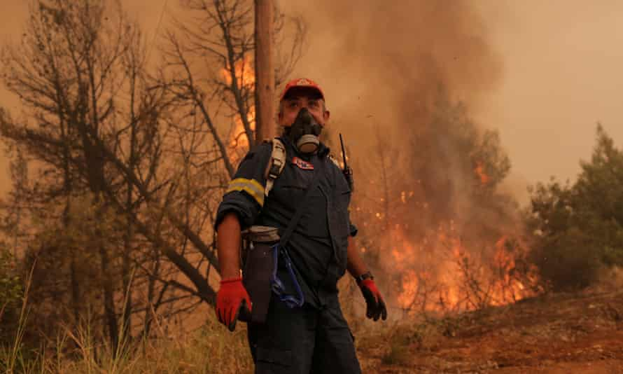 A firefighter on the Greek island of Evia