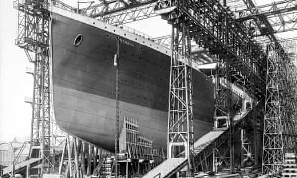 The Titanic at the Harland and Wolff shipyard in Belfast