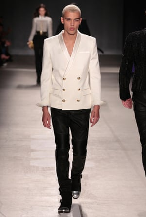 Model Dudley O'Shaughnessy on the Balmain x H&M catwalk