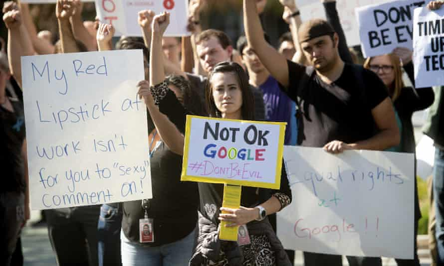 Workers protest against Google on 1 November 2019 in Mountain View, California.