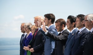 from left Donald Tusk, Theresa May, Angela Merkel, Donald Trump, Justin Trudeau, Emmanuel Macron, Shinzo Abe, Giuseppe Conte and Jean-Claude Juncker.