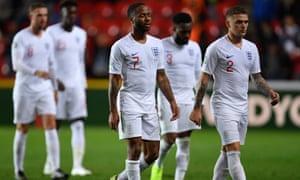 England walk off after their deflating loss to Czech Republic.