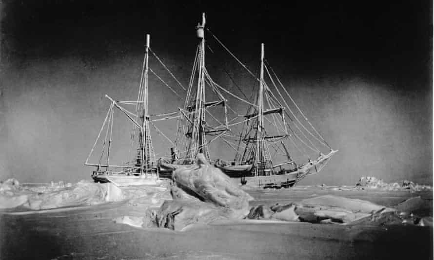 A photograph of the Belgica stranded in pack ice taken in 1898 by the ship's doctor Frederick Cook.