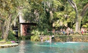 Swimmers and sunbathers at Juniper spring, Ocala national forest, Florida, North America.