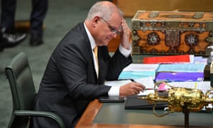 Prime Minister Scott Morrison during House of Representatives Question Time at Parliament House in Canberra, February 15, 2021.
