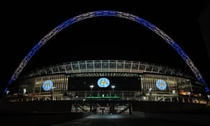 Wembley has paid tribute to Leicester by lighting up the arch in blue and white.