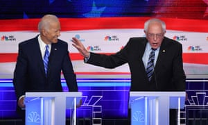 Bernie Sanders has sought to draw a sharp line between himself and the frontrunner Joe Biden on healthcare.