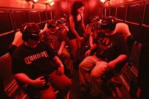 People watching the It: Float movie during a cinematic virtual reality experience in New Jersey