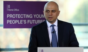 Sajid Javid delivers his speech to youth workers and police officers in east London.
