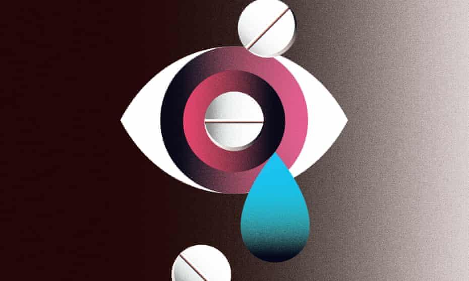 euthanasia illustration: eye, tear, pills