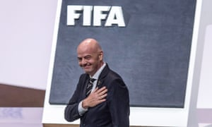 Gianni Infantino reacts after being re-elected for a second term as Fifa president.